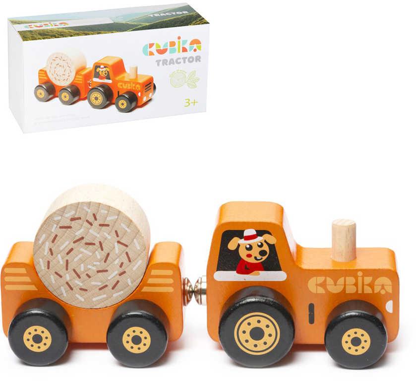CUBIKA DŘEVO Magnetický set traktor s vlečkou a nákladem *DŘEVĚNÉ HRAČKY*