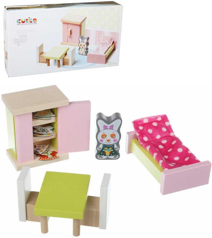 CUBIKA DŘEVO Pokojíček nábytek pro panenky s figurkou a magnetickými oblečky