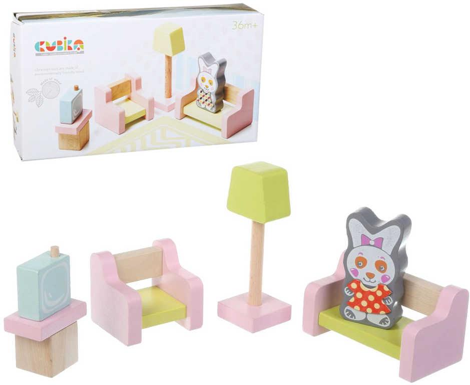 CUBIKA DŘEVO Obývací pokoj nábytek pro panenky s figurkou a magnetickými oblečky
