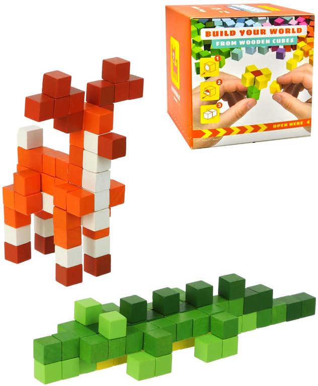 CUBIKA DŘEVO Pixel Utajené zvířátko různé druhy 64 dílků 3D STAVEBNICE