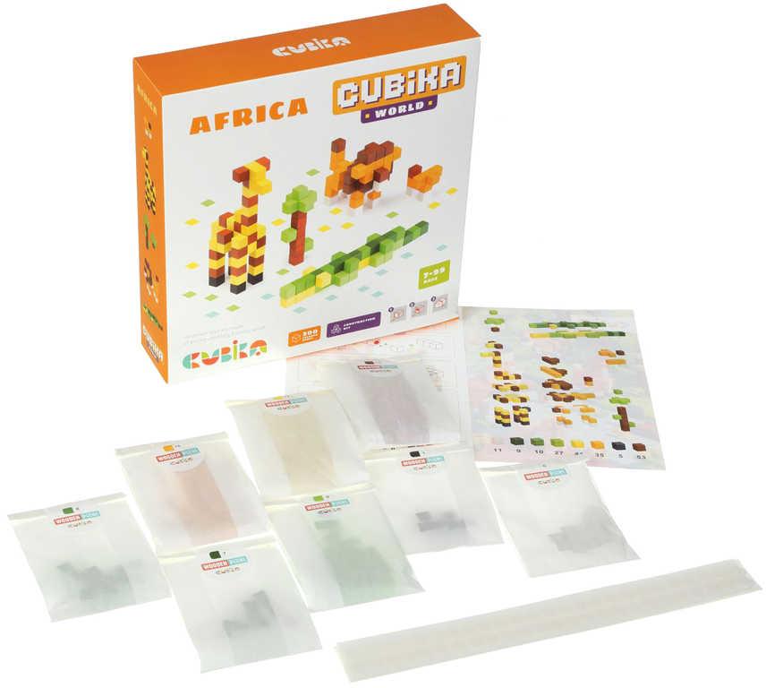 CUBIKA DŘEVO Pixel Stavebnice 3D Afrika 200 dílků 1x1cm