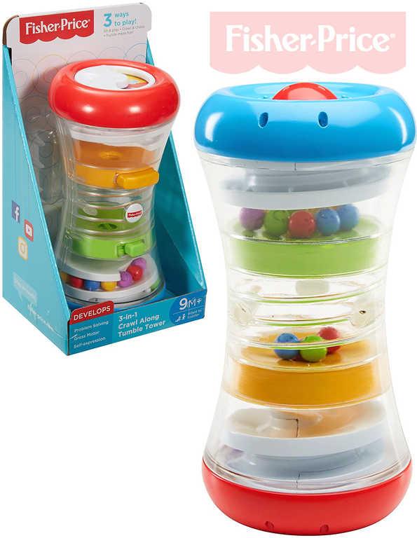 FISHER PRICE Baby věž s aktivitami zábavné chrastítko s kuličkami 3v1 pro mimink