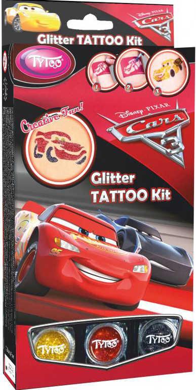 TyToo Dětské tetování Cars 3 (Auta) 12 tetovaček pro kluky se třpytkami