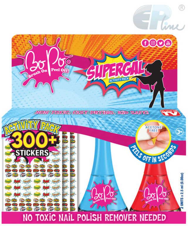 EP Line BO-PO Supergal set lak na nehty slupovací 2ks + 300 samolepek