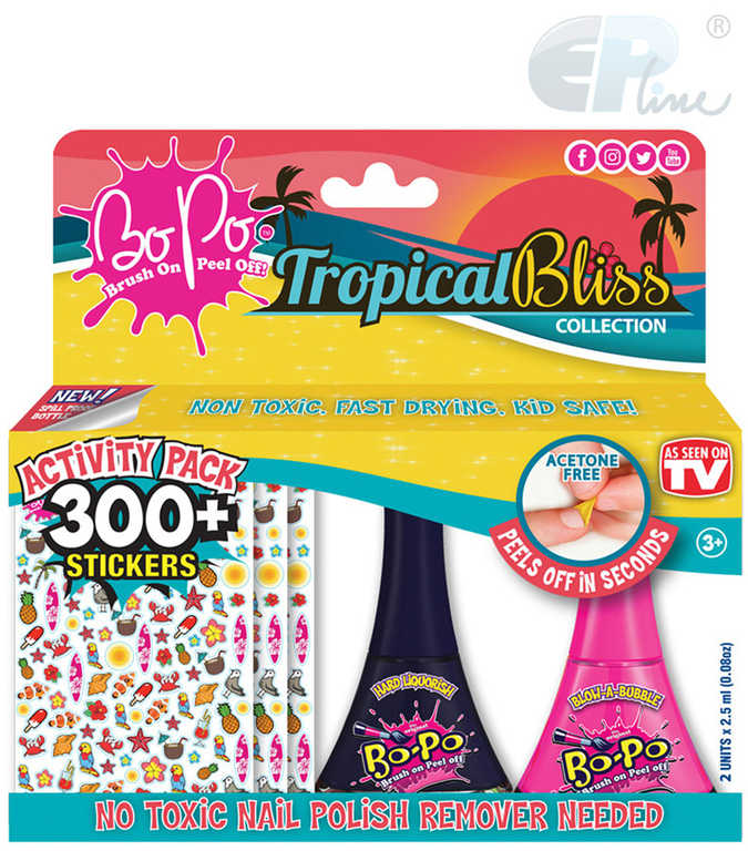 EP Line BO-PO Tropical Bliss set lak na nehty slupovací 2ks + 300 samolepek