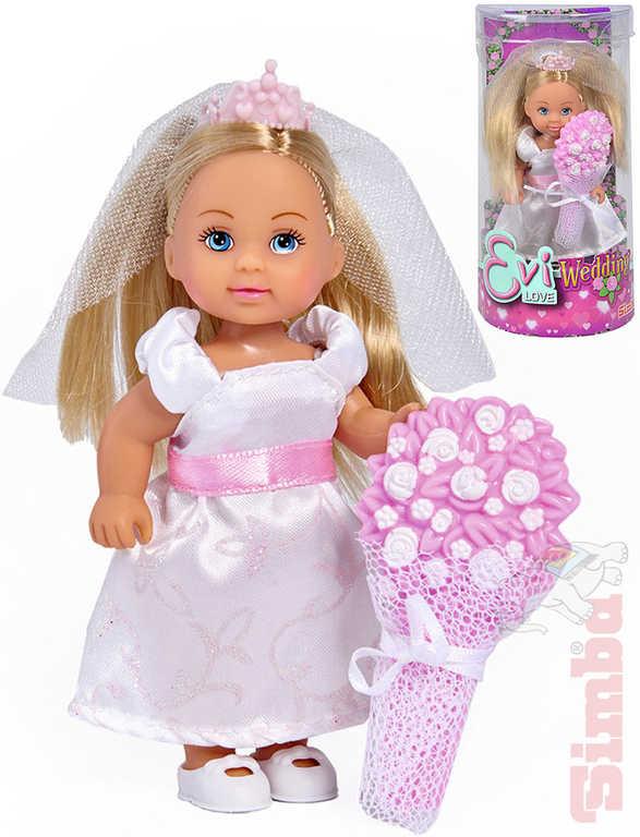 SIMBA Panenka Evička nevěsta 12cm svatební šaty se s kyticí v krabici