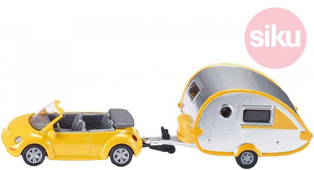 SIKU Auto Kabriolet VW New Beetle s karavanem