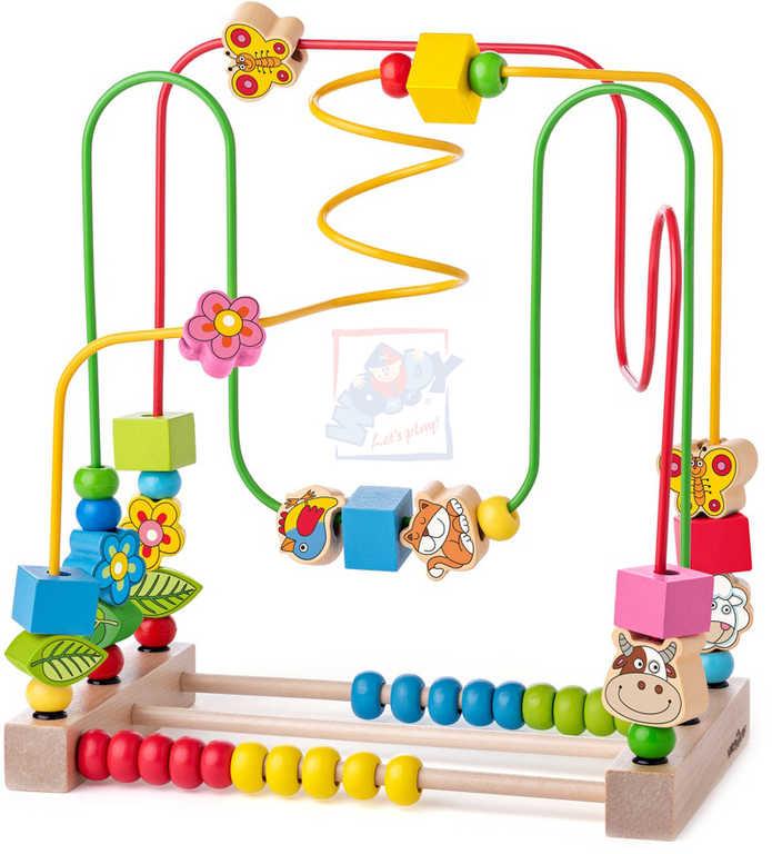 WOODY DŘEVO Baby labyrint motorický počítadlo pro miminko *DŘEVĚNÉ HRAČKY*