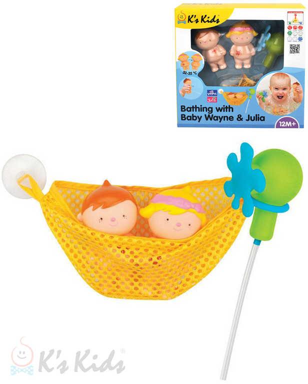 K´S KIDS Baby koupání s Waynem a Julií set 2 panenky se sprchou do vany