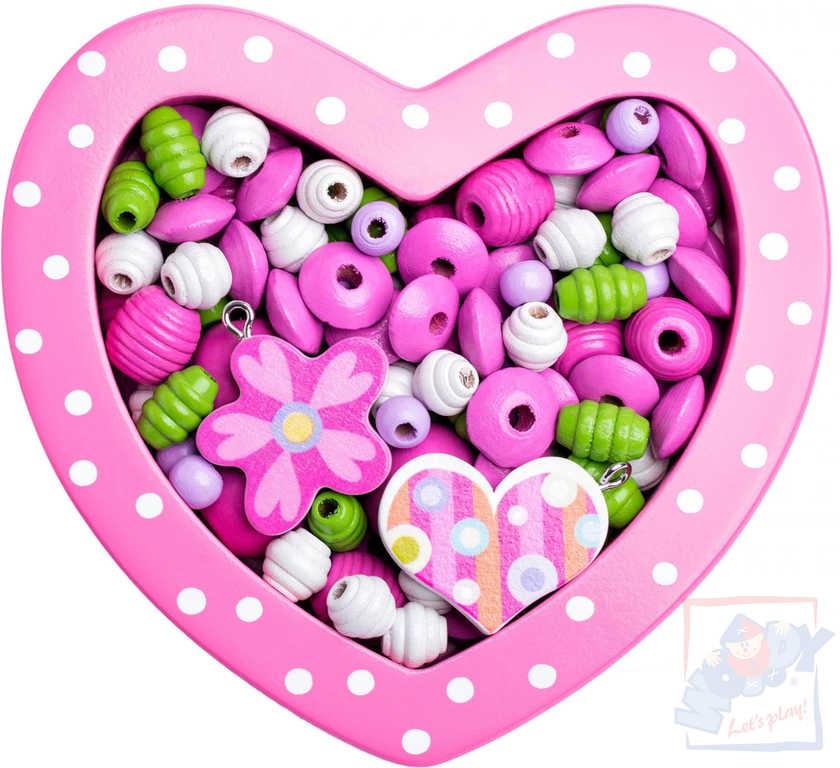 WOODY DŘEVO Korálky navlékací v srdíčku růžové *DŘEVĚNÉ HRAČKY*