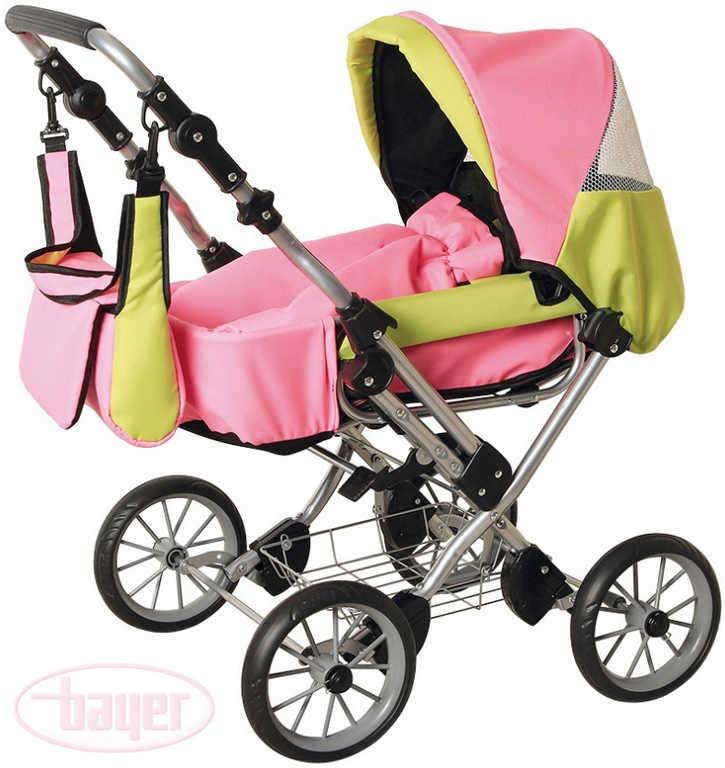 BAYER Kočárek kombinovaný WIX GRANDE růžová/limetka pro panenku miminko