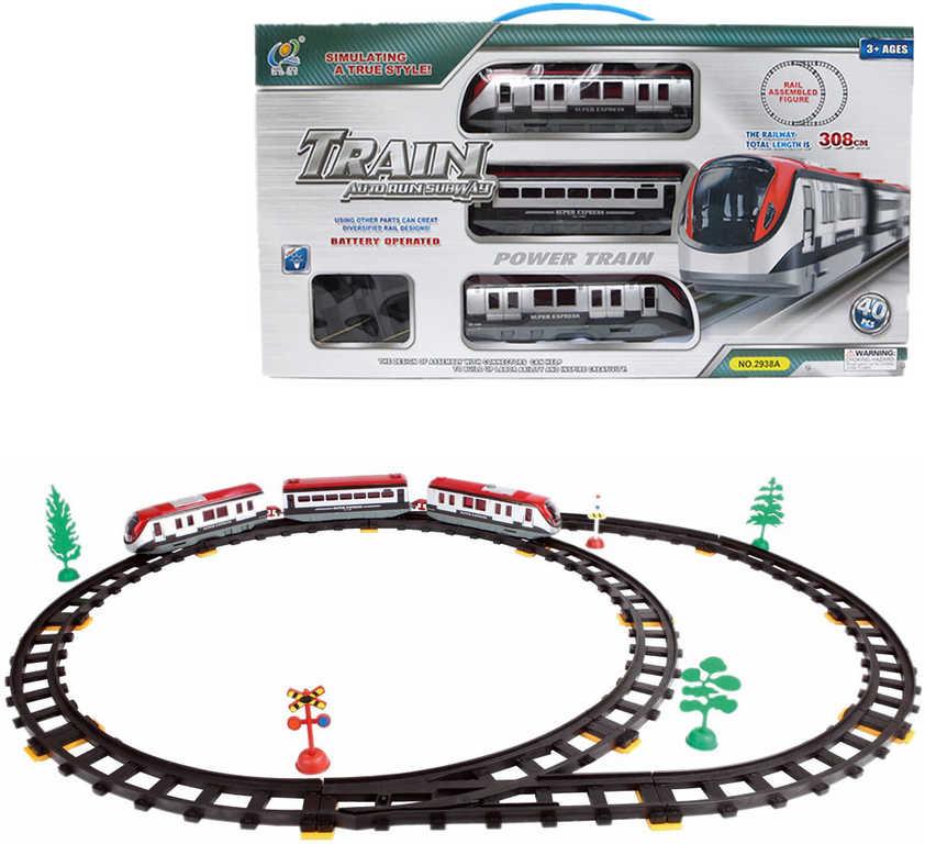 Sada vlaková vysokoroychlostní set vagony s tratí 308cm na baterie 40ks Světlo