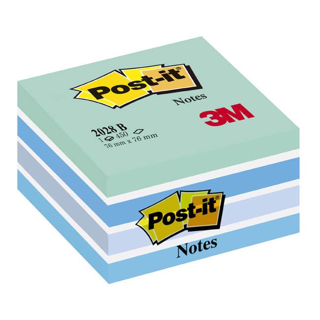 Fotografie Samolepicí bločky Post-it kostky - modré odstíny / 450 lístků