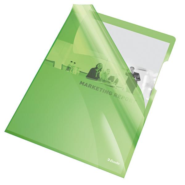 Zakládací obal A4 silný barevný - tvar L / zelená 25 ks