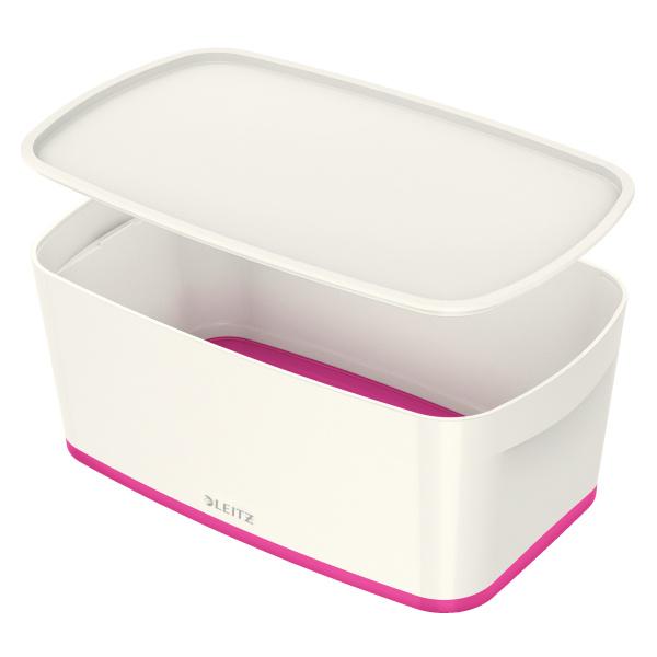 Organizační box MyBox - s víkem S / bílo - růžová