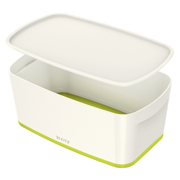 Organizační box MyBox - s víkem S / bílo - zelená