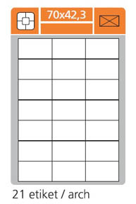 Print etikety A4 PLUS pro laserový a inkoustový tisk - 70 x 42,3 mm (21 etiket / arch)
