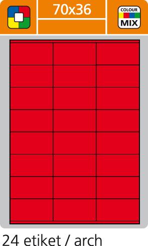Print etikety A4 pro laserový a inkoustový tisk - 70 x 36 mm (24 etiket/ arch) červená