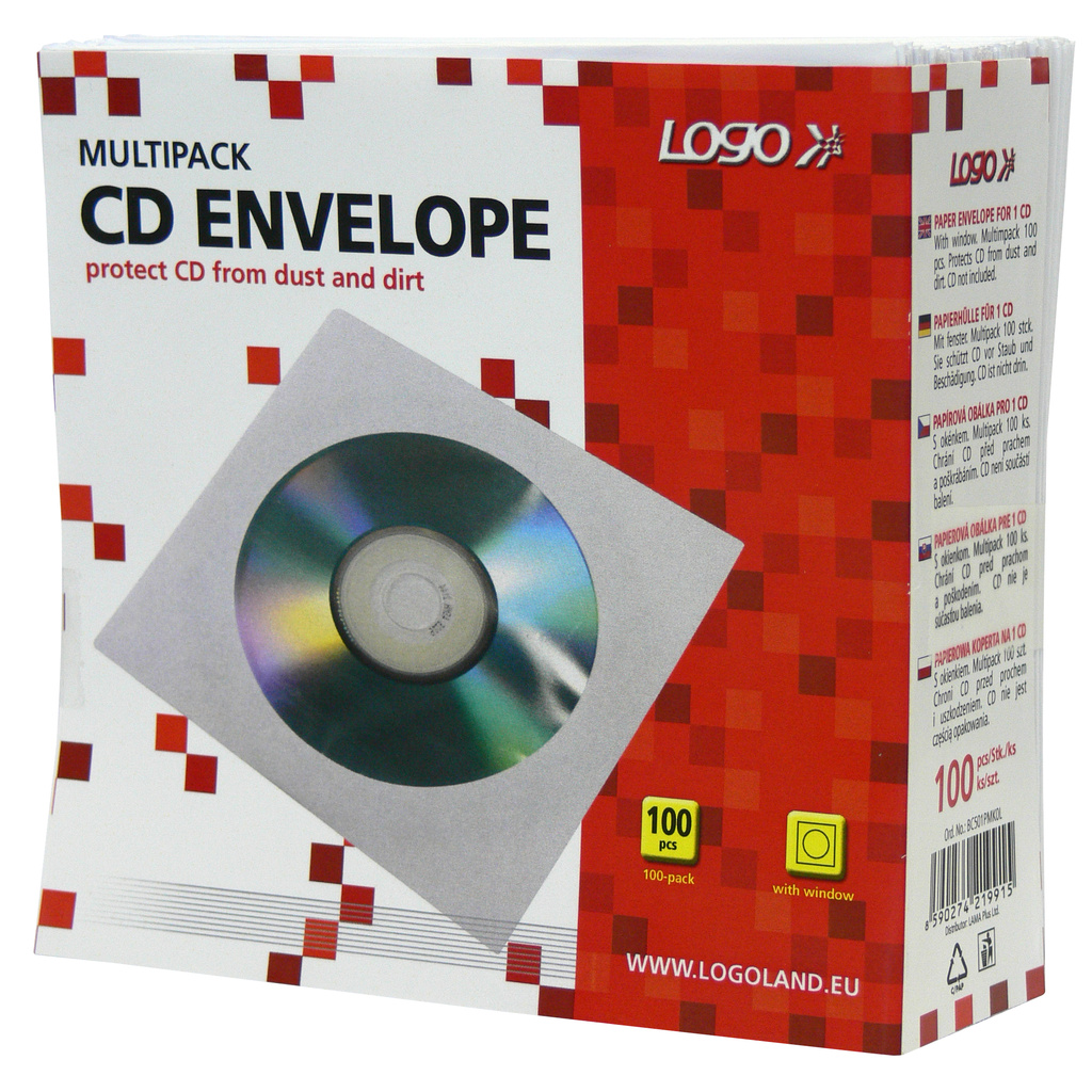 Obálky na CD / DVD - 100 ks / bílá / s okénkem