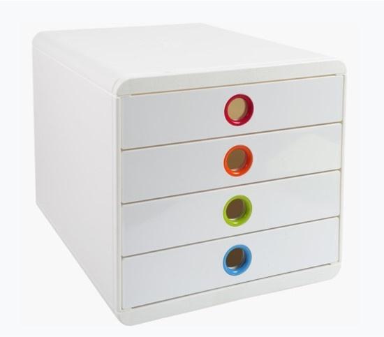 Zásuvkový box Exacompta POP bílý duhový / 4 zásuvky na výšku