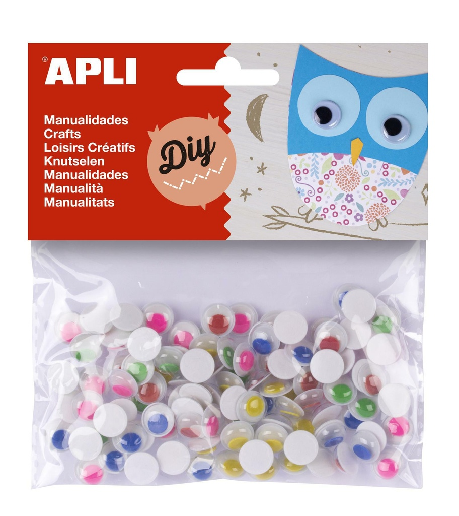 Pohyblivé oči APLI kulaté / samolepicí / mix barev / 100 ks