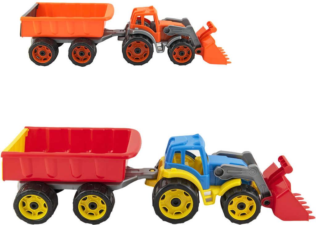Traktor barevný bagr s vlekem a lžící na písek 2 barvy plast v síťce