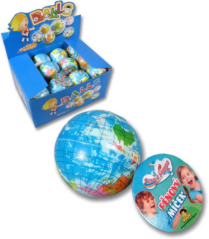 Míček pěnový zeměkoule 5,5cm soft balonek