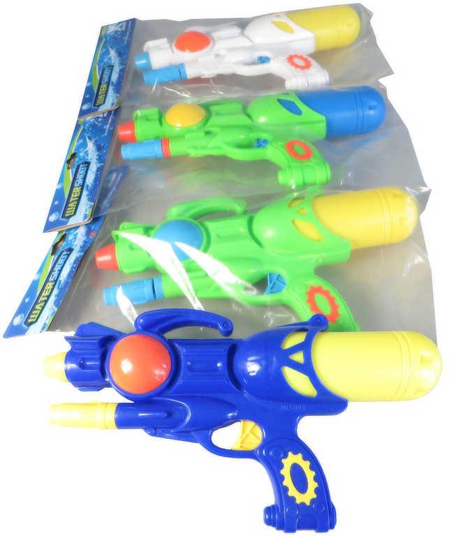 Pistole vodní 28cm se zásobníkem na vodu 4 barvy plast v sáčku