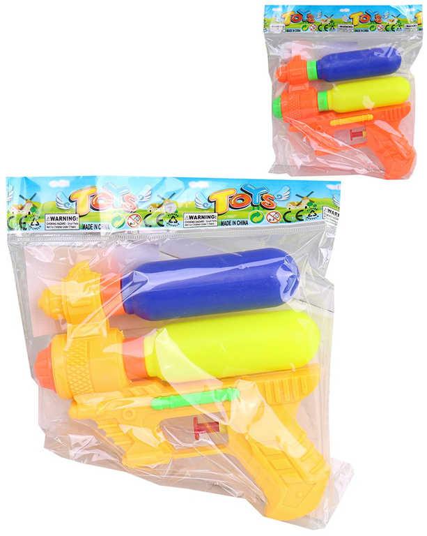 Pistole vodní 14cm se dvěma zásobníky na vodu 3 barvy plast v sáčku