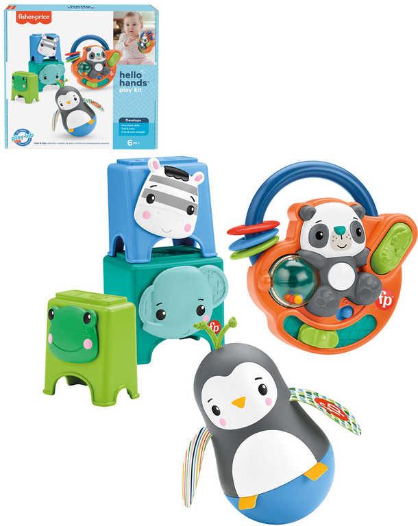 FISHER PRICE Baby Ahoj šikovnosti 3 zvířátka s aktivitami na baterie pro miminko Zvuk