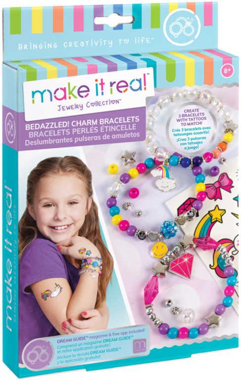 Náramky a tetování symboly dětský kreativní set s korálky a doplňky