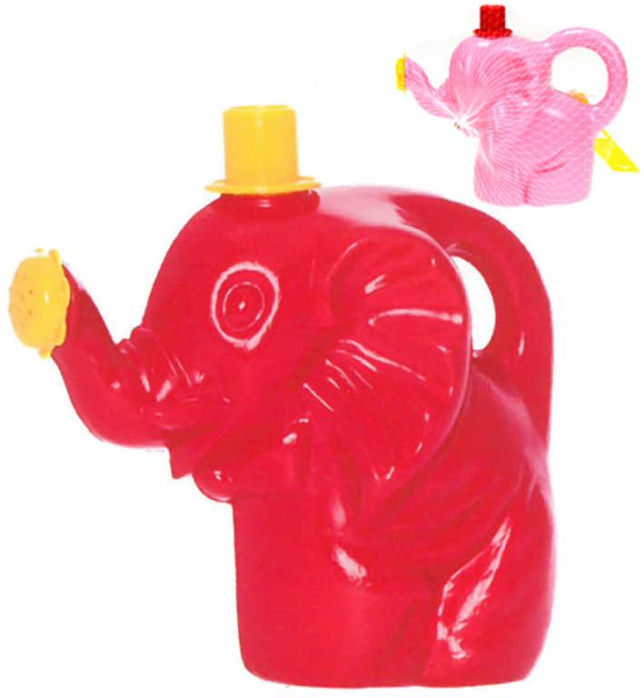 Baby konvička s růžicí slon s kloboučkem 17cm 2 barvy plast pro miminko