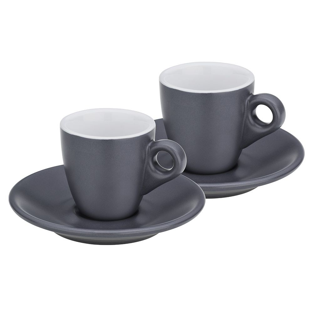 Hrnek na espresso s podšálkem sada 4 ks MATTIA šedá