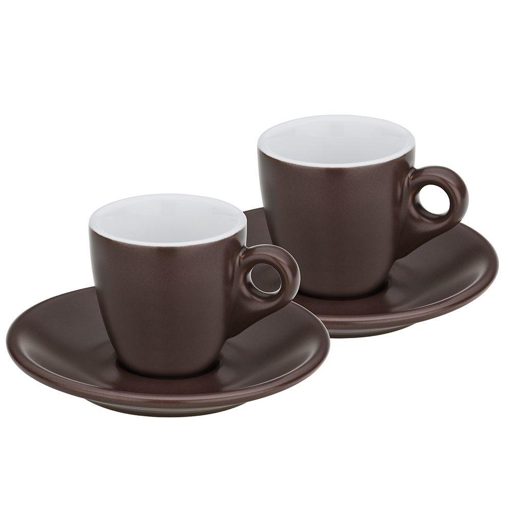 Hrnek na espresso s podšálkem sada 4 ks MATTIA čokoládová
