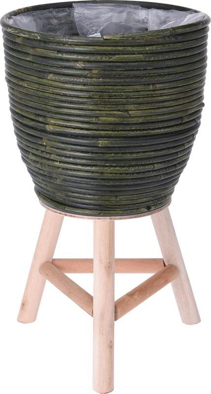 Květináč ratanový na dřevěné noze 24,5 x 41 cm zelená