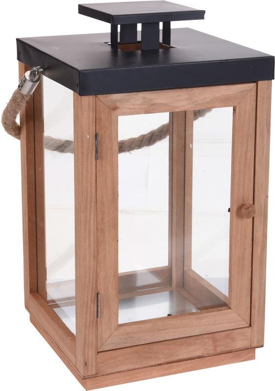 Lucerna na svíčku dřevěná 20 x 36 cm