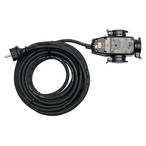 Prodlužovací kabel s gumovou izolací, 10m, 3 zásuvky YATO