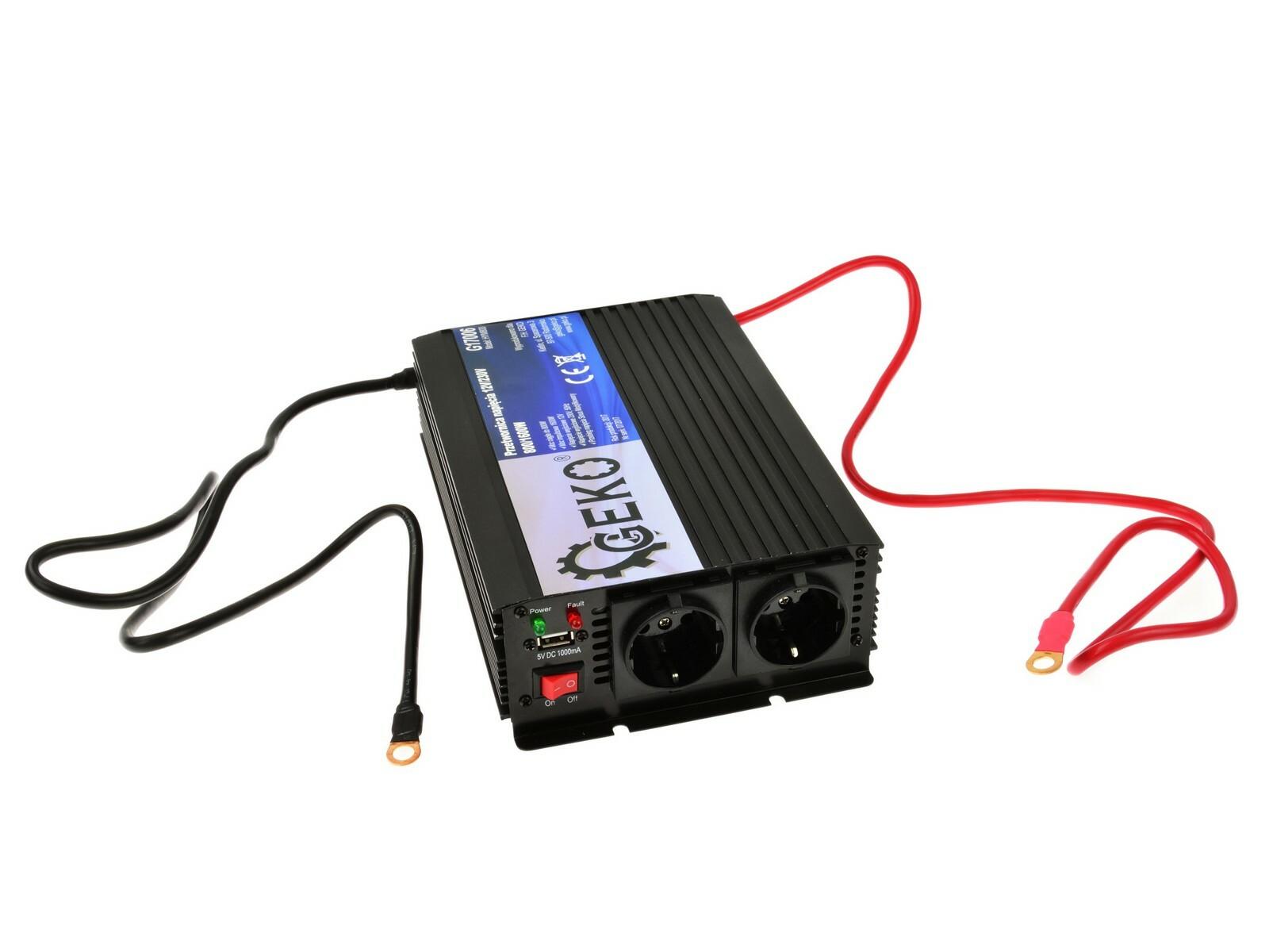 Měnič napětí 12V/230V, 800/1600W GEKO