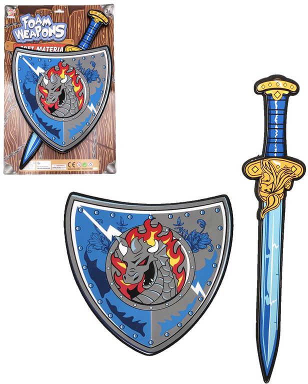 Soft meč lehký pěnový 53cm set se štítem na kartě