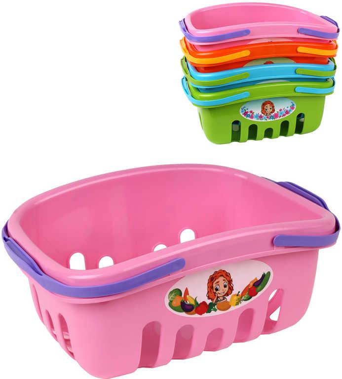 Košík dětský nákupní plastový 27x18x12cm s obrázkem 4 barvy