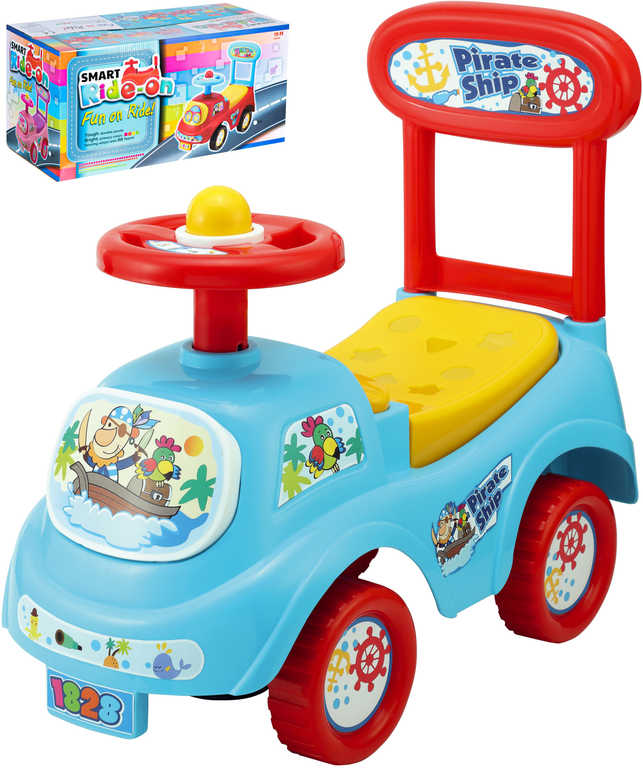 Baby odrážedlo auto modré 48cm odstrkovadlo s opěrkou zad a úložným prostorem