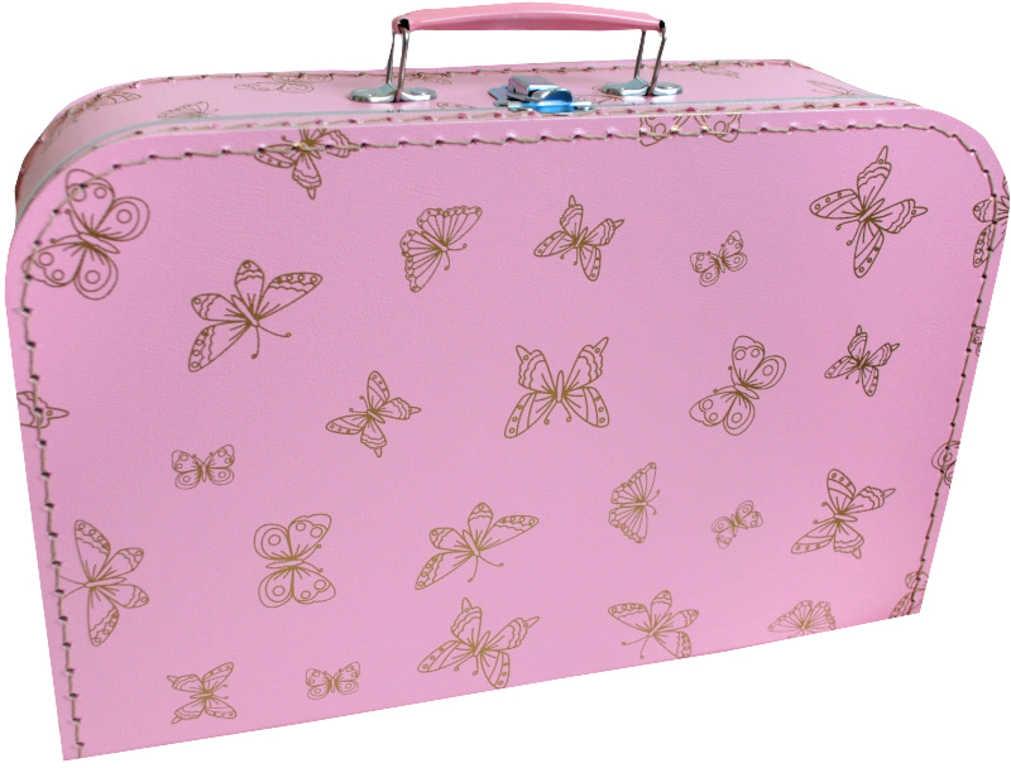 KAZETO Kufr dětský růžový se zlatými motýlky 35x21x10cm šitý lepenkový