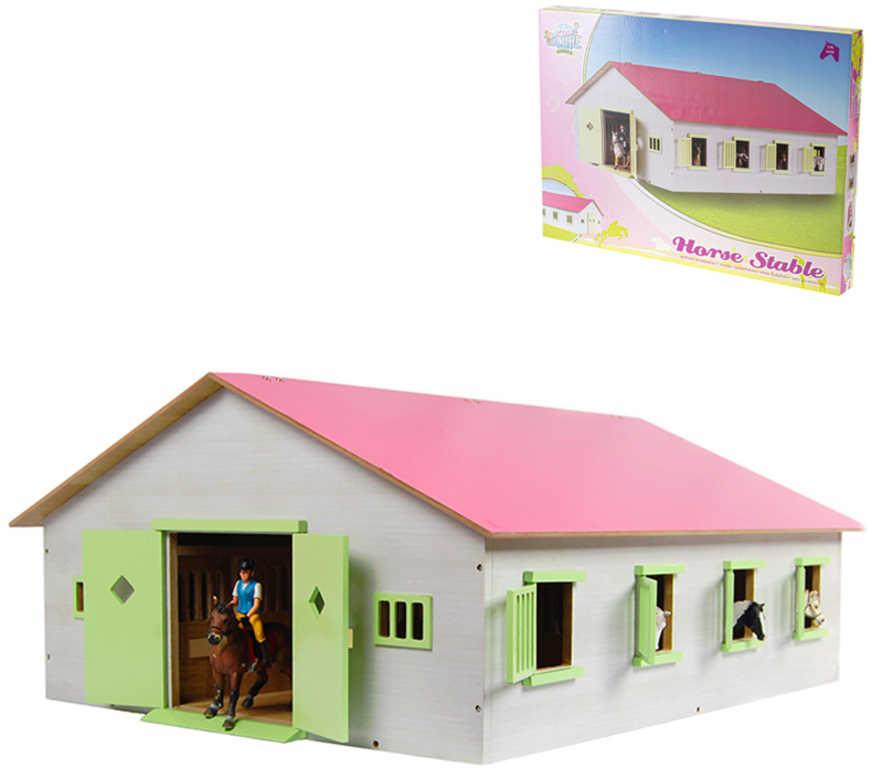DŘEVO Farma stáj 73x38x60cm růžová *DŘEVĚNÉ HRAČKY*