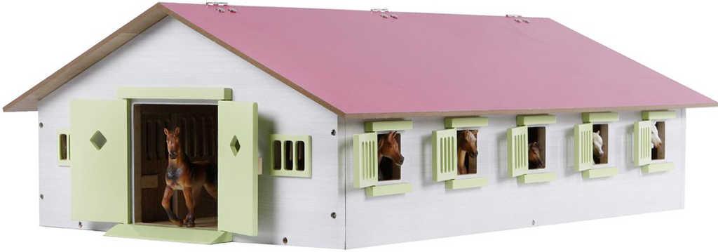 DŘEVO Stáj pro koně 62x43x22cm růžová 1:32 *DŘEVĚNÉ HRAČKY*