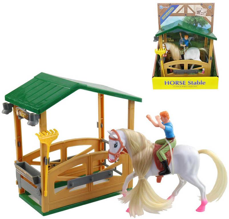 Stáj s koněm 25cm a jezdcem herní set plast v krabici