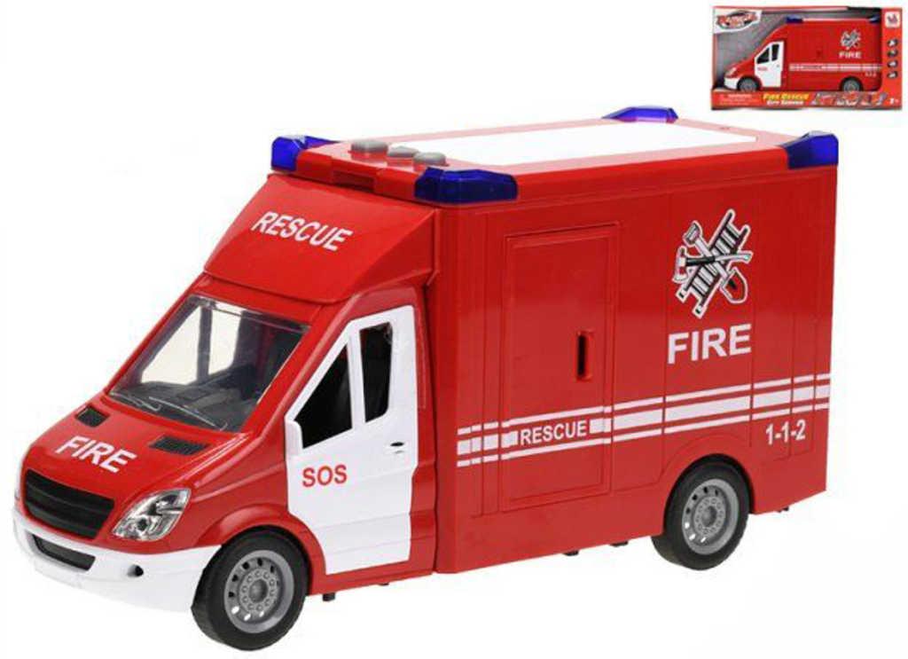 Auto hasičská dodávka 27cm na setrvačník na baterie Světlo Zvuk