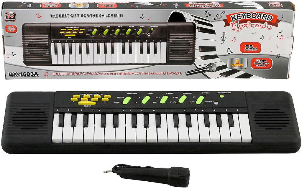 Klávesy s mikrofonem dětské pianko 32 kláves na baterie Zvuk
