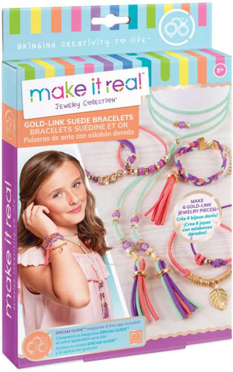 Náramky a náhrdelník zlatá edice dětský kreativní set s korálky a doplňky