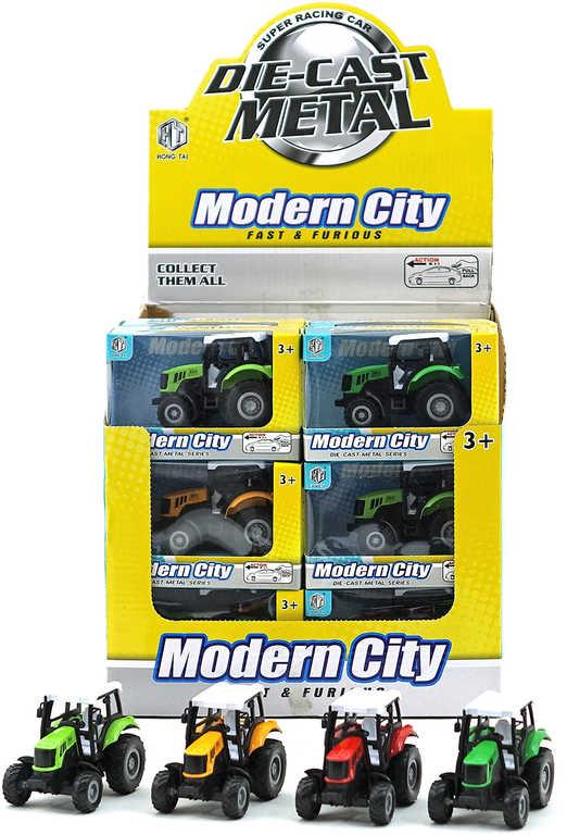 Traktor kovový zpětný chod v krabičce 4 barvy