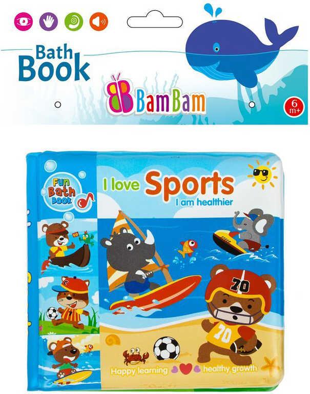 BAM BAM Baby knížka sport zvířátka pískací do vany na koupání pro miminko